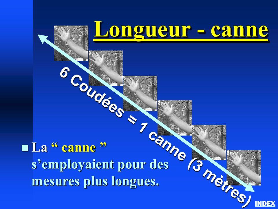 Longueur - canne n La canne semployaient pour des mesures plus longues. 6 Coudées = 1 canne (3 mètres)
