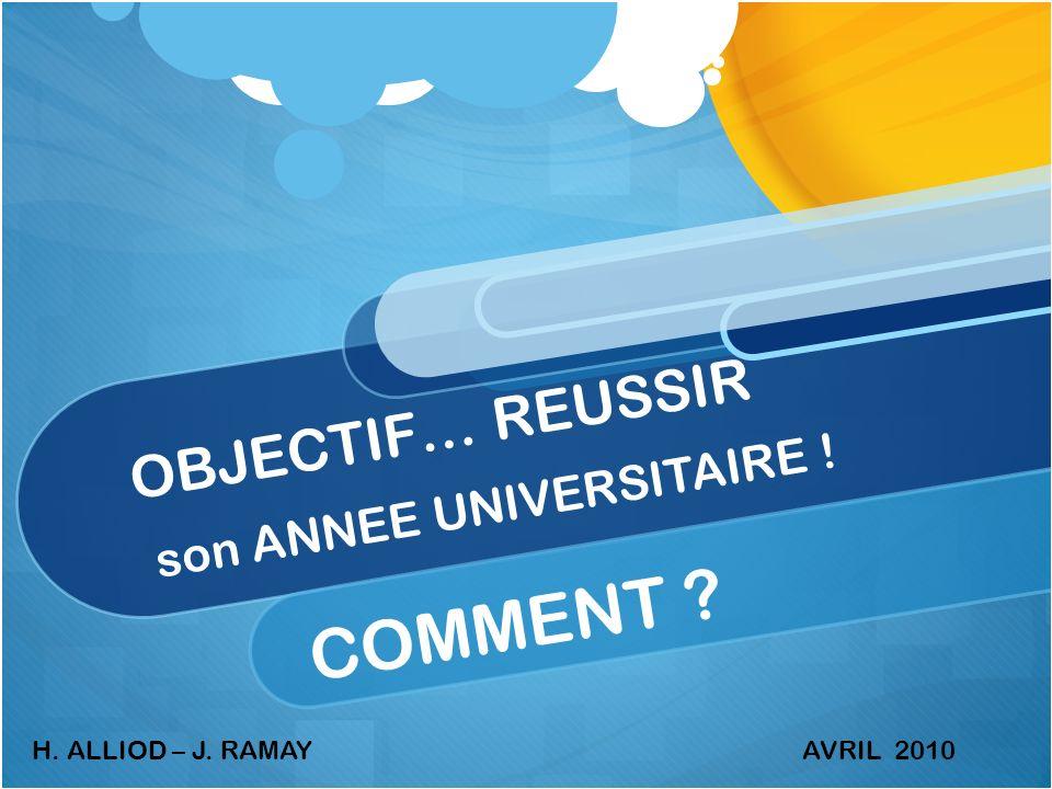 OBJECTIF… REUSSIR son ANNEE UNIVERSITAIRE ! COMMENT ? H. ALLIOD – J. RAMAYAVRIL 2010