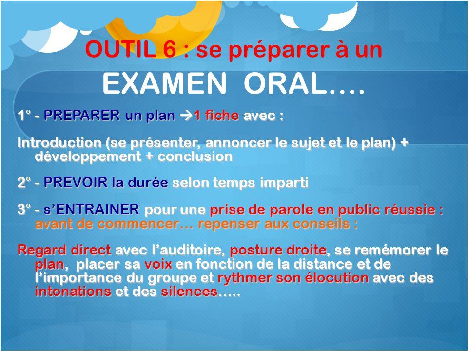 OUTIL 6 : se préparer à un EXAMEN ORAL…. 1° - PREPARER un plan 1 fiche avec : Introduction (se présenter, annoncer le sujet et le plan) + développemen
