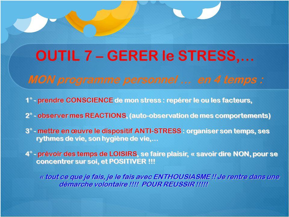 OUTIL 7 – GERER le STRESS,… MON programme personnel … en 4 temps : 1° - prendre CONSCIENCE de mon stress : repérer le ou les facteurs, 2° - observer m