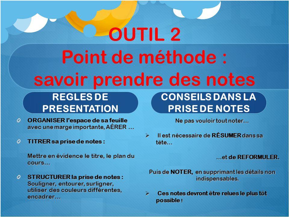 OUTIL 2 Point de méthode : savoir prendre des notes REGLES DE PRESENTATION ORGANISER l'espace de sa feuille avec une marge importante, A ÉRER … TITRER