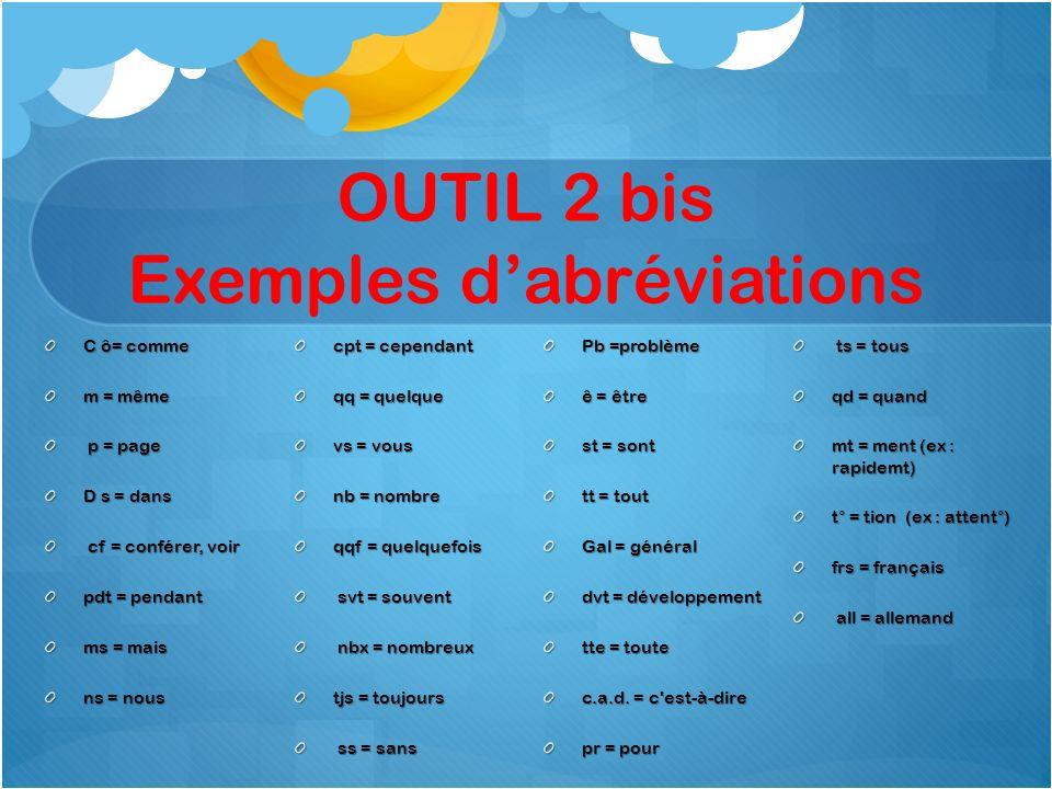 OUTIL 2 bis Exemples dabréviations C ô= comme m = même p = page p = page D s = dans cf = conférer, voir cf = conférer, voir pdt = pendant ms = mais ns