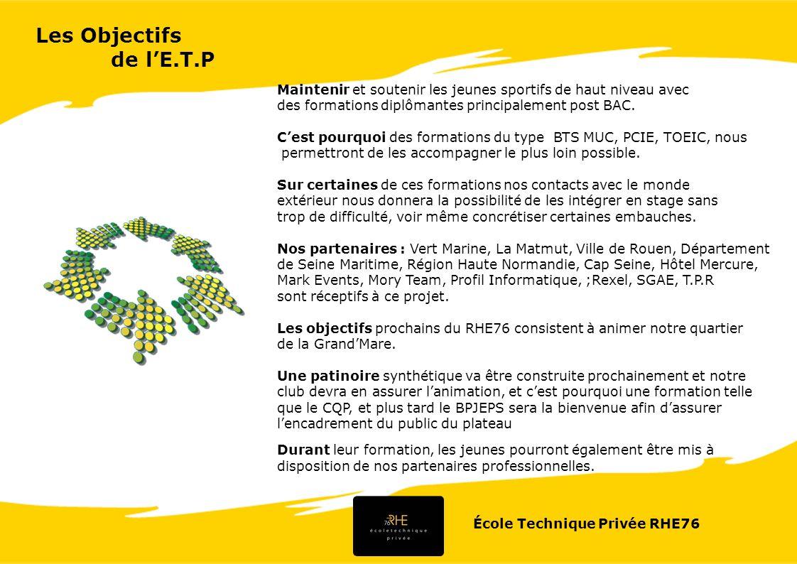 École Technique Privée RHE76 Objectifs de la formation * É tudier les besoins des consommateurs.