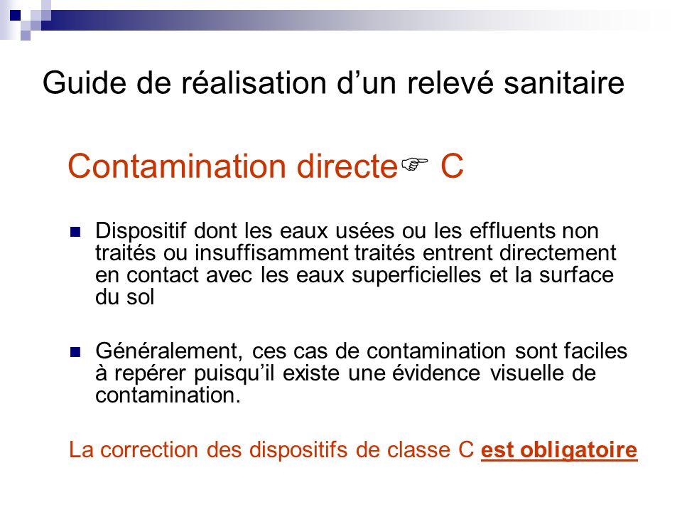 Contamination directe C Dispositif dont les eaux usées ou les effluents non traités ou insuffisamment traités entrent directement en contact avec les