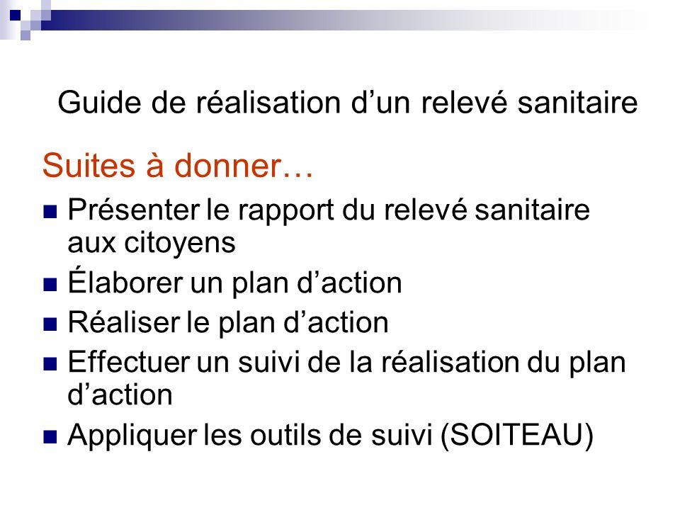 Présenter le rapport du relevé sanitaire aux citoyens Élaborer un plan daction Réaliser le plan daction Effectuer un suivi de la réalisation du plan d