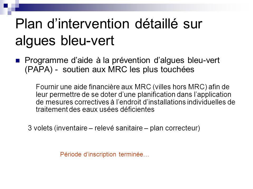Programme daide à la prévention dalgues bleu-vert (PAPA) - soutien aux MRC les plus touchées Fournir une aide financière aux MRC (villes hors MRC) afi