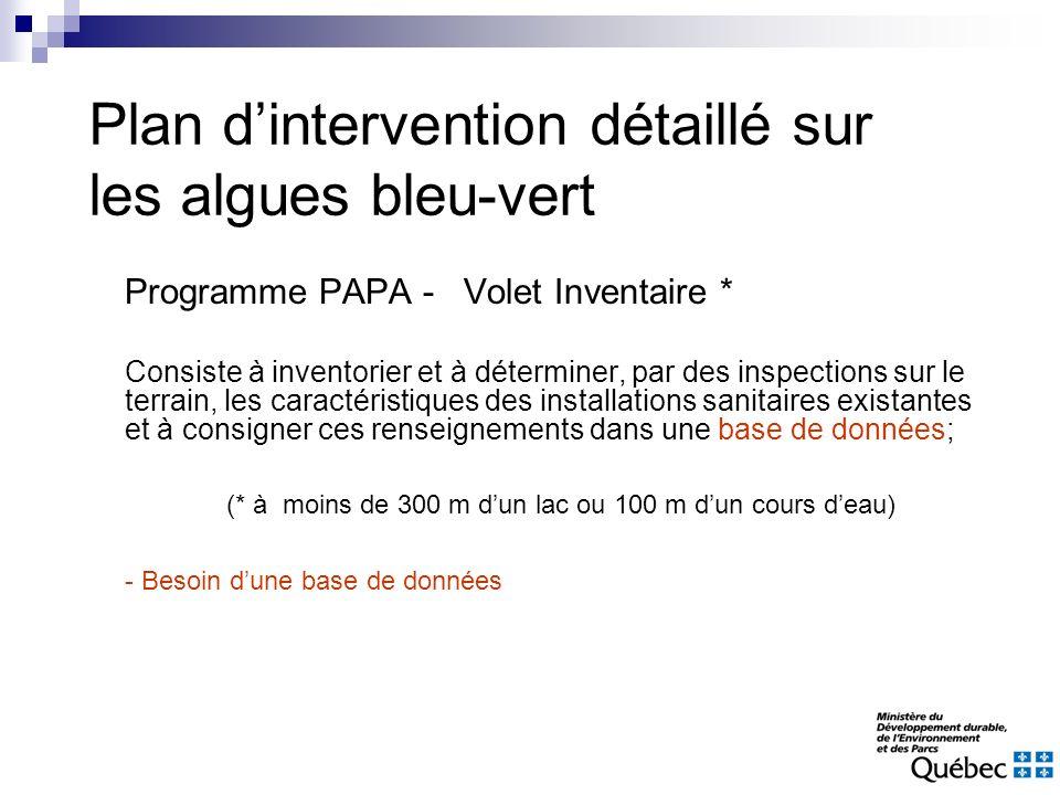 Programme PAPA - Volet Inventaire * Consiste à inventorier et à déterminer, par des inspections sur le terrain, les caractéristiques des installations