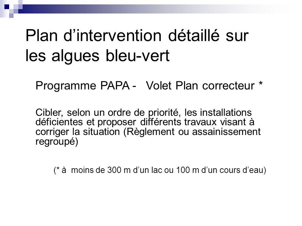 Programme PAPA - Volet Plan correcteur * Cibler, selon un ordre de priorité, les installations déficientes et proposer différents travaux visant à cor