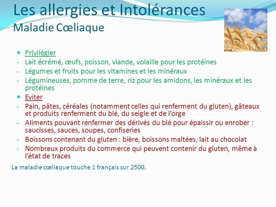 Les allergies et Intolérances Maladie Cœliaque Privilégier - Lait écrémé, œufs, poisson, viande, volaille pour les protéines - Légumes et fruits pour