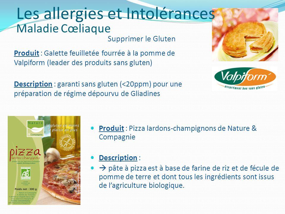 Produit : Pizza lardons-champignons de Nature & Compagnie Description : pâte à pizza est à base de farine de riz et de fécule de pomme de terre et don
