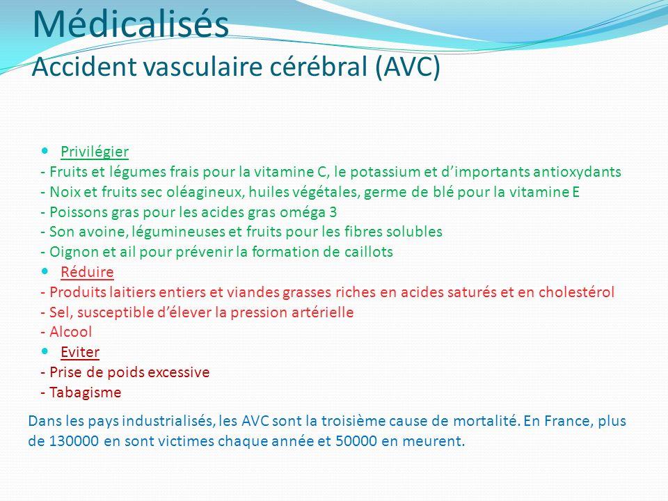 Médicalisés Accident vasculaire cérébral (AVC) Privilégier - Fruits et légumes frais pour la vitamine C, le potassium et dimportants antioxydants - No