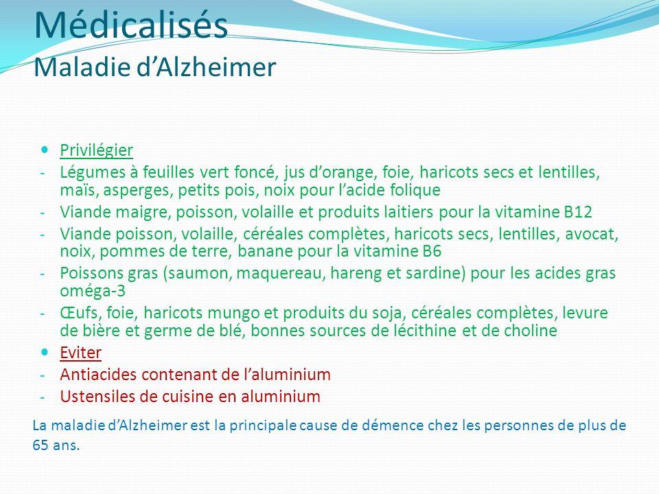 Médicalisés Maladie dAlzheimer Privilégier - Légumes à feuilles vert foncé, jus dorange, foie, haricots secs et lentilles, maïs, asperges, petits pois