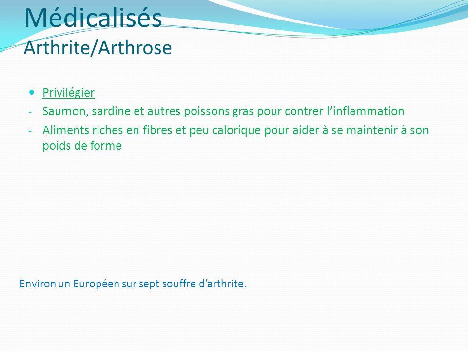 Médicalisés Arthrite/Arthrose Privilégier - Saumon, sardine et autres poissons gras pour contrer linflammation - Aliments riches en fibres et peu calo