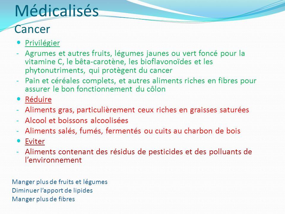 Médicalisés Cancer Privilégier - Agrumes et autres fruits, légumes jaunes ou vert foncé pour la vitamine C, le bêta-carotène, les bioflavonoïdes et le