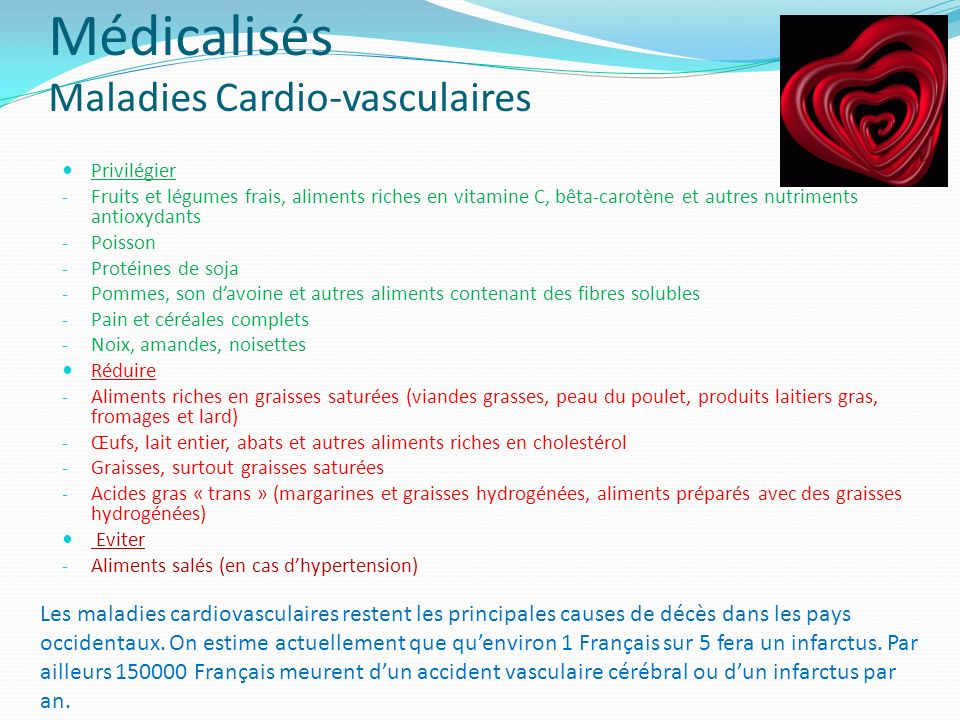 Médicalisés Maladies Cardio-vasculaires Privilégier - Fruits et légumes frais, aliments riches en vitamine C, bêta-carotène et autres nutriments antio