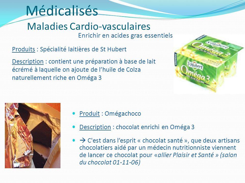 Produit : Omégachoco Description : chocolat enrichi en Oméga 3 C'est dans lesprit « chocolat santé », que deux artisans chocolatiers aidé par un médec