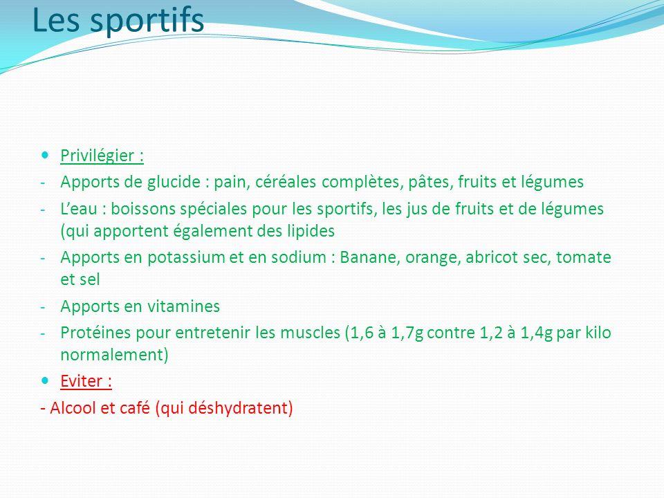 Les sportifs Privilégier : - Apports de glucide : pain, céréales complètes, pâtes, fruits et légumes - Leau : boissons spéciales pour les sportifs, le