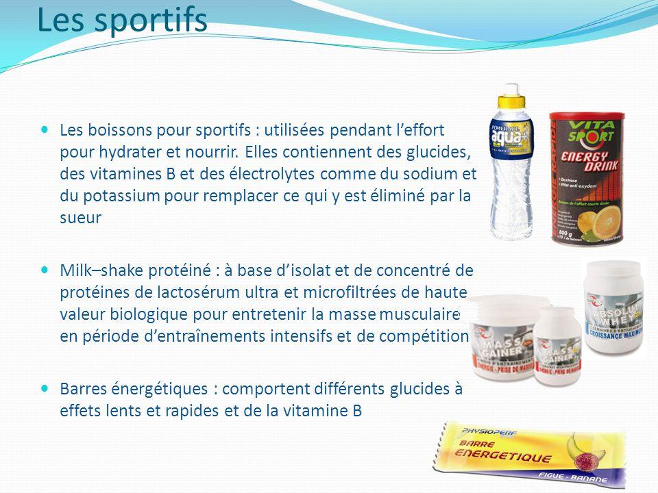 Les sportifs Les boissons pour sportifs : utilisées pendant leffort pour hydrater et nourrir. Elles contiennent des glucides, des vitamines B et des é