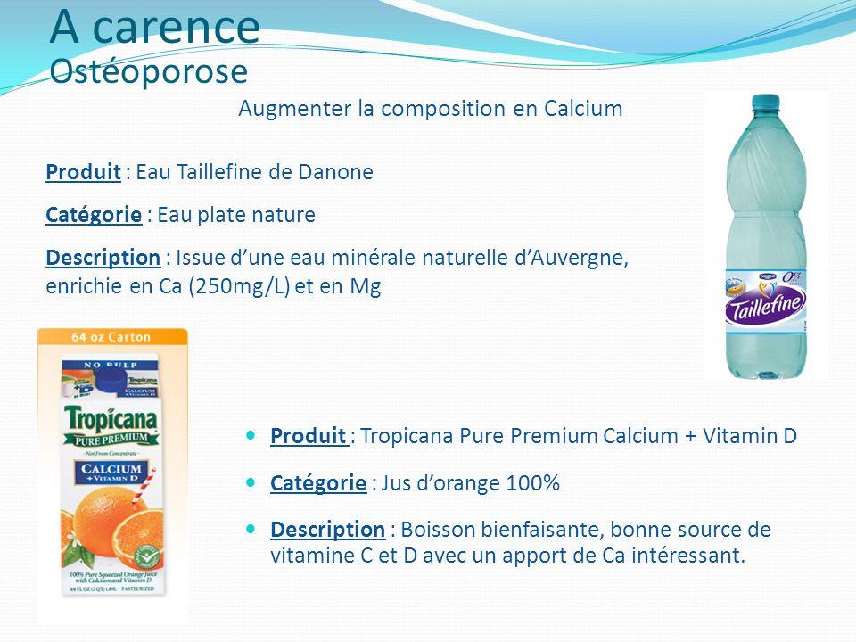 Produit : Tropicana Pure Premium Calcium + Vitamin D Catégorie : Jus dorange 100% Description : Boisson bienfaisante, bonne source de vitamine C et D