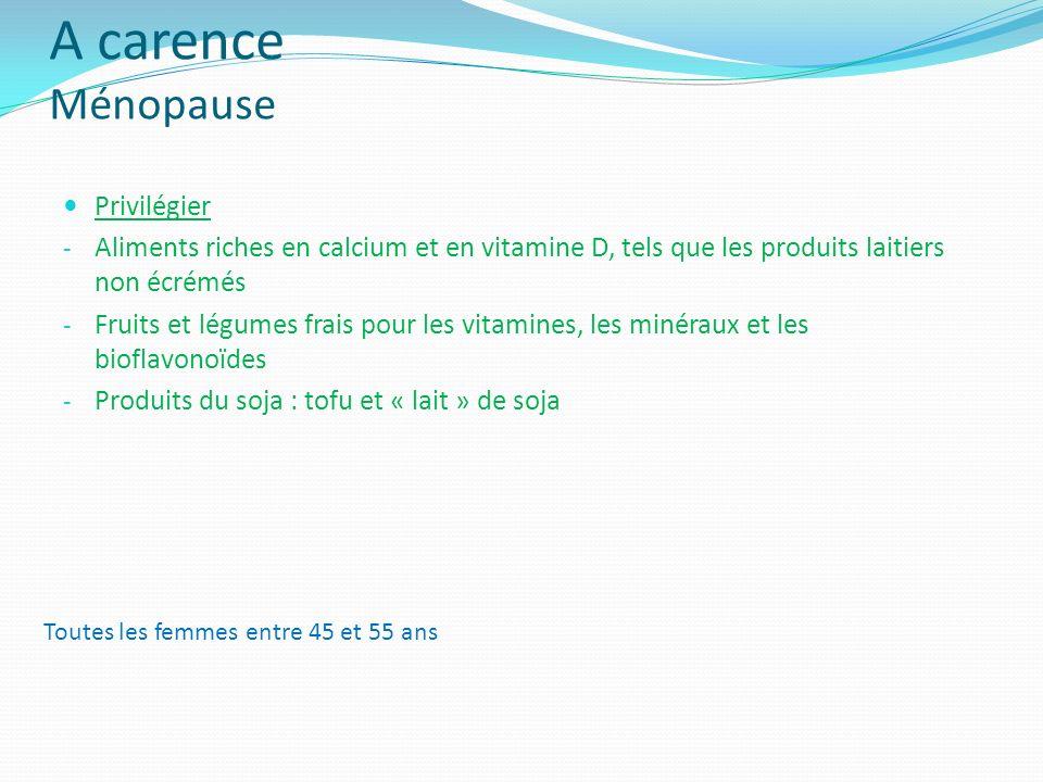A carence Ménopause Privilégier - Aliments riches en calcium et en vitamine D, tels que les produits laitiers non écrémés - Fruits et légumes frais po