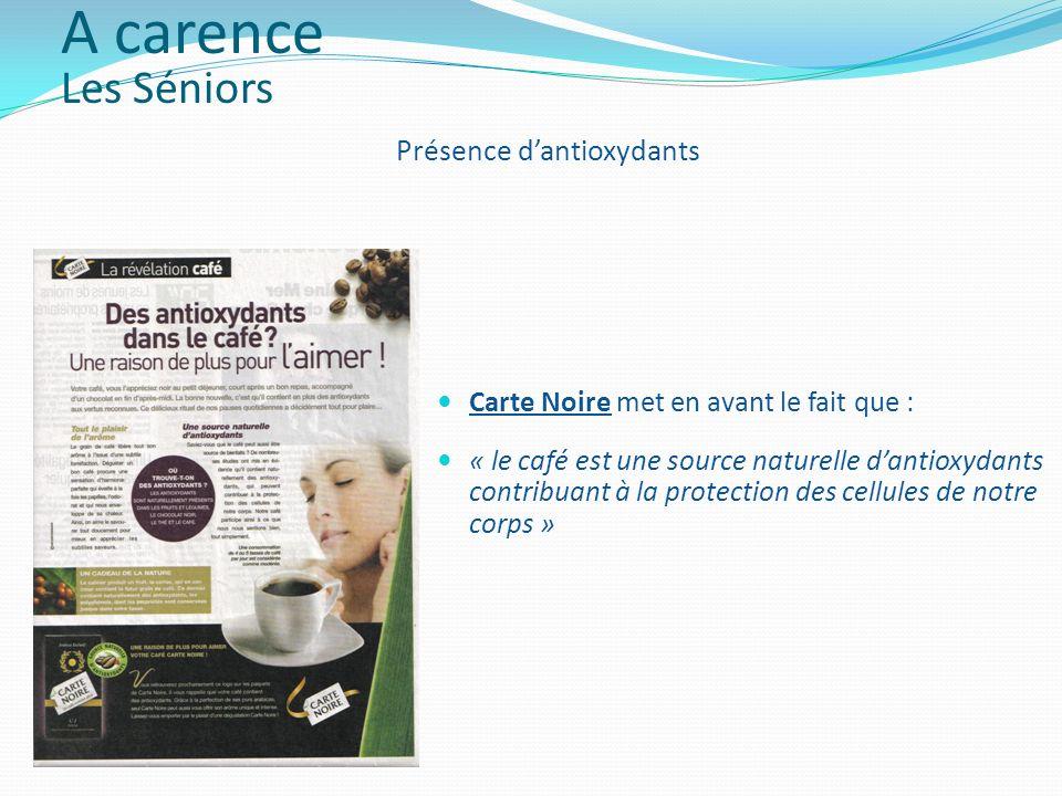 Carte Noire met en avant le fait que : « le café est une source naturelle dantioxydants contribuant à la protection des cellules de notre corps » Prés