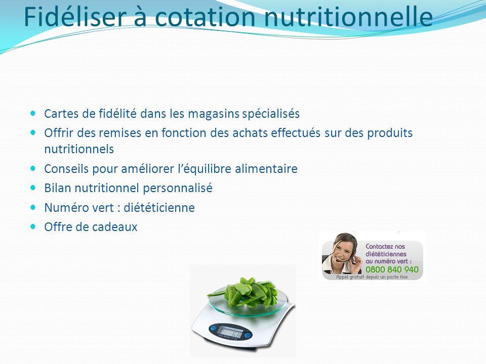 Fidéliser à cotation nutritionnelle Cartes de fidélité dans les magasins spécialisés Offrir des remises en fonction des achats effectués sur des produ