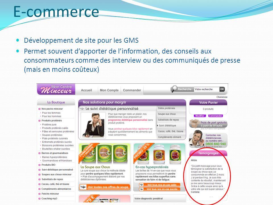 E-commerce Développement de site pour les GMS Permet souvent dapporter de linformation, des conseils aux consommateurs comme des interview ou des comm