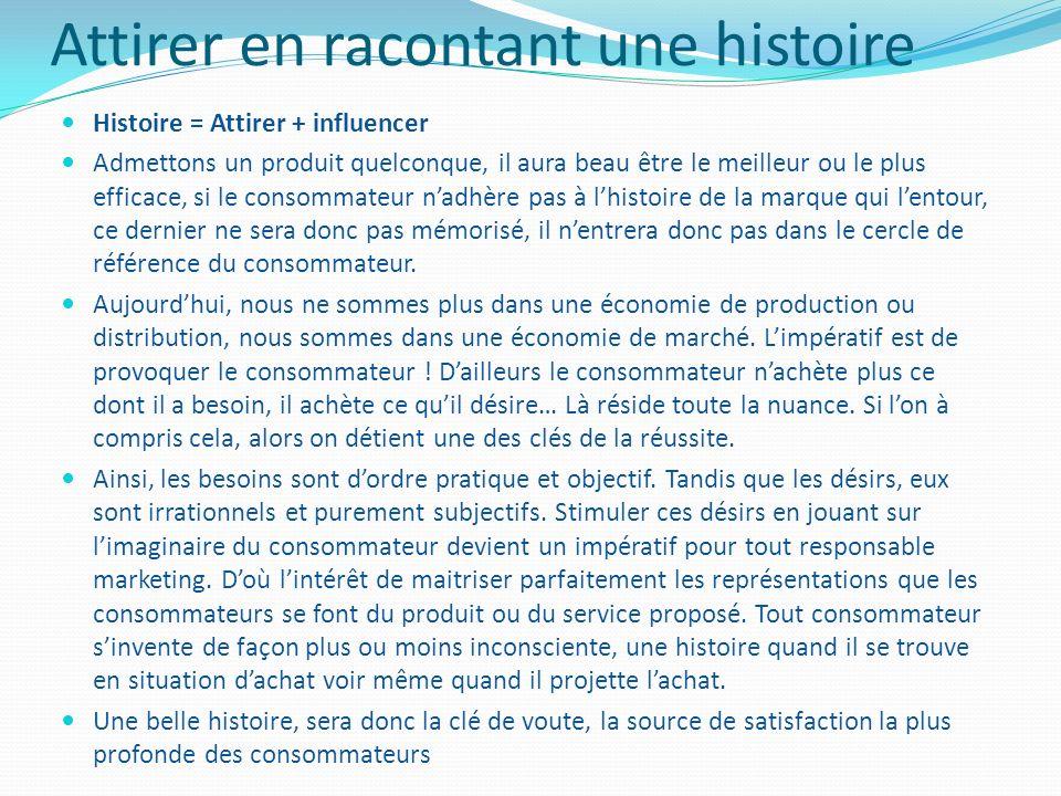 Attirer en racontant une histoire Histoire = Attirer + influencer Admettons un produit quelconque, il aura beau être le meilleur ou le plus efficace,