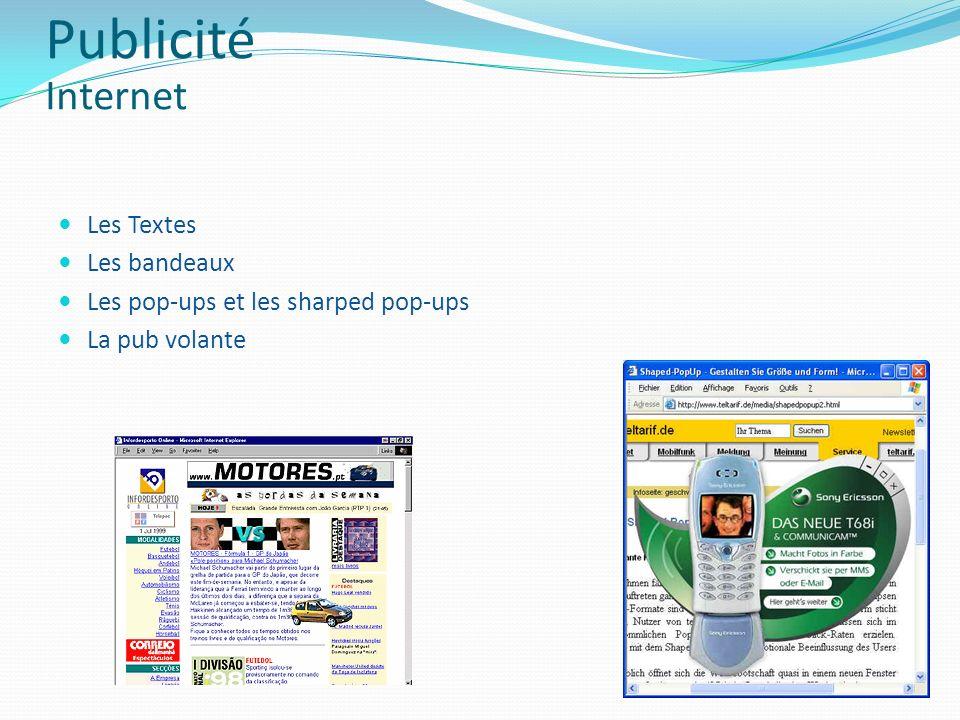 Les Textes Les bandeaux Les pop-ups et les sharped pop-ups La pub volante Publicité Internet