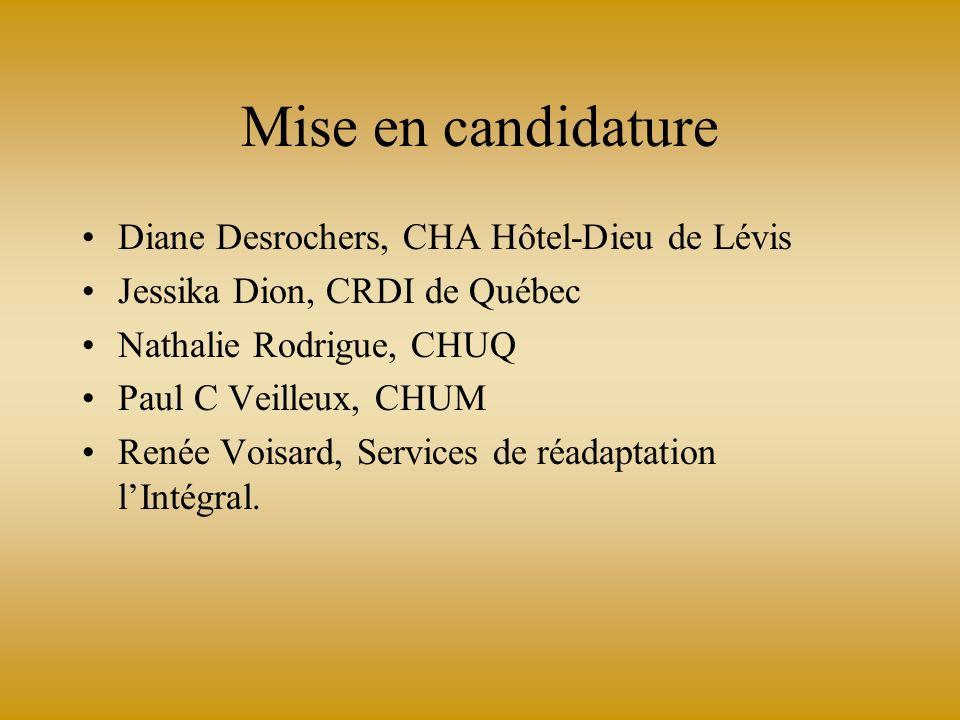 Mise en candidature Diane Desrochers, CHA Hôtel-Dieu de Lévis Jessika Dion, CRDI de Québec Nathalie Rodrigue, CHUQ Paul C Veilleux, CHUM Renée Voisard, Services de réadaptation lIntégral.