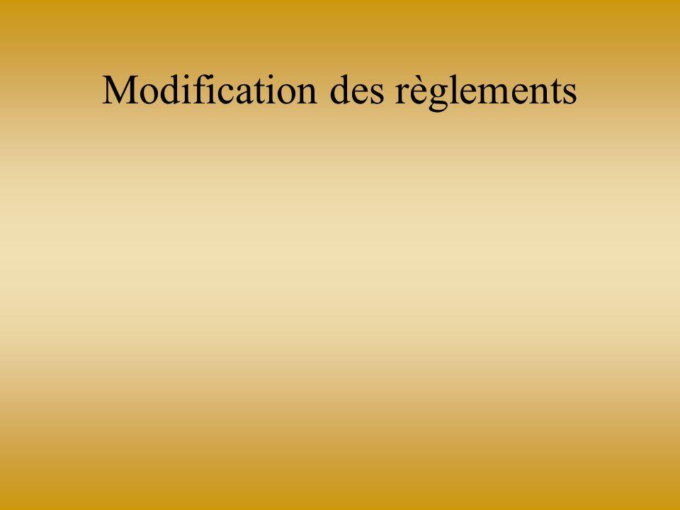 Modification des règlements