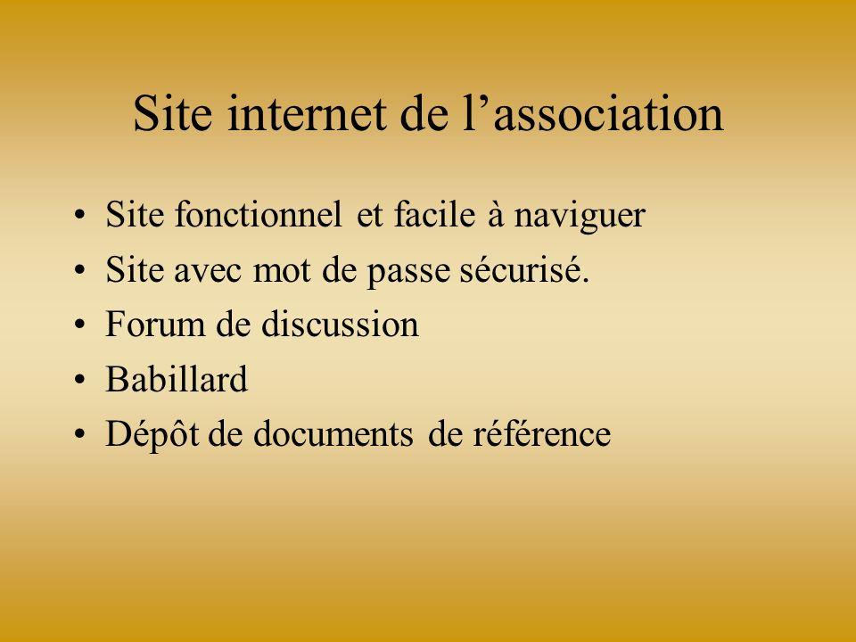 Site internet de lassociation Site fonctionnel et facile à naviguer Site avec mot de passe sécurisé. Forum de discussion Babillard Dépôt de documents