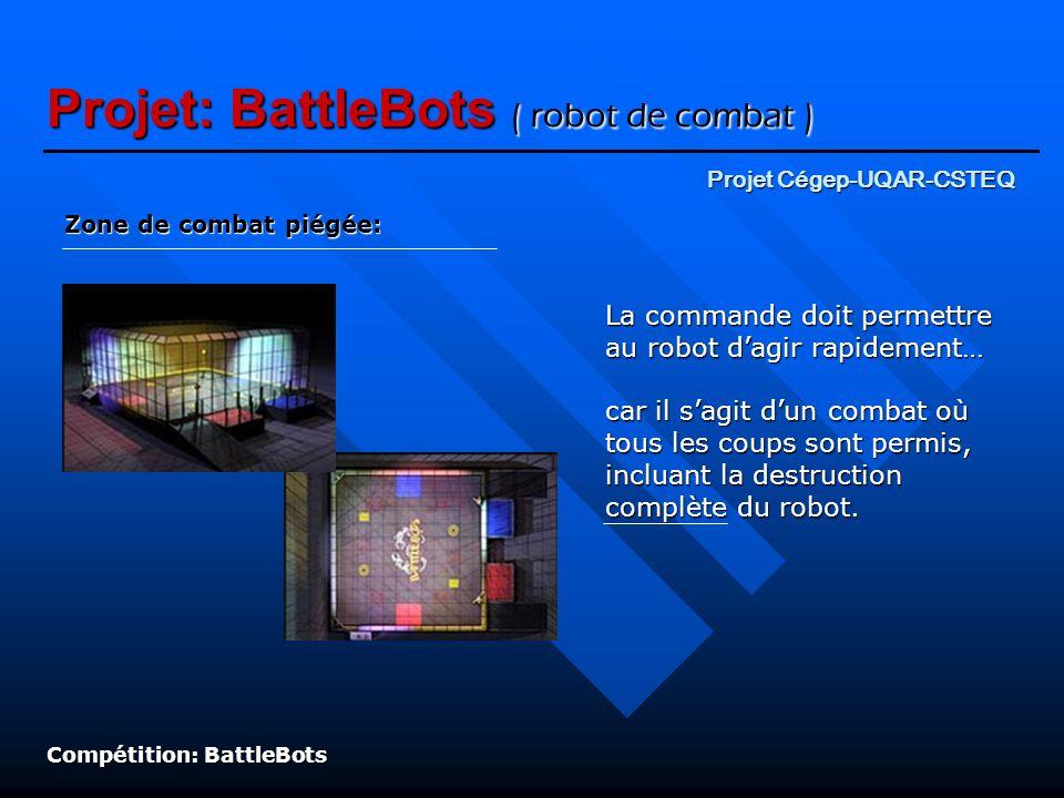 Projet: BattleBots ( robot de combat ) Zone de combat piégée: Compétition: BattleBots La commande doit permettre au robot dagir rapidement… car il sag