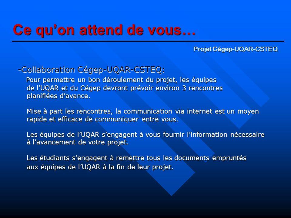 Ce quon attend de vous… -Collaboration Cégep-UQAR-CSTEQ: Pour permettre un bon déroulement du projet, les équipes de lUQAR et du Cégep devront prévoir