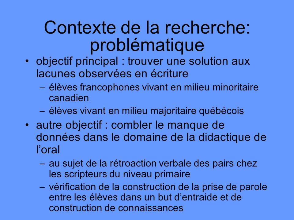 Contexte de la recherche: problématique objectif principal : trouver une solution aux lacunes observées en écriture –élèves francophones vivant en mil