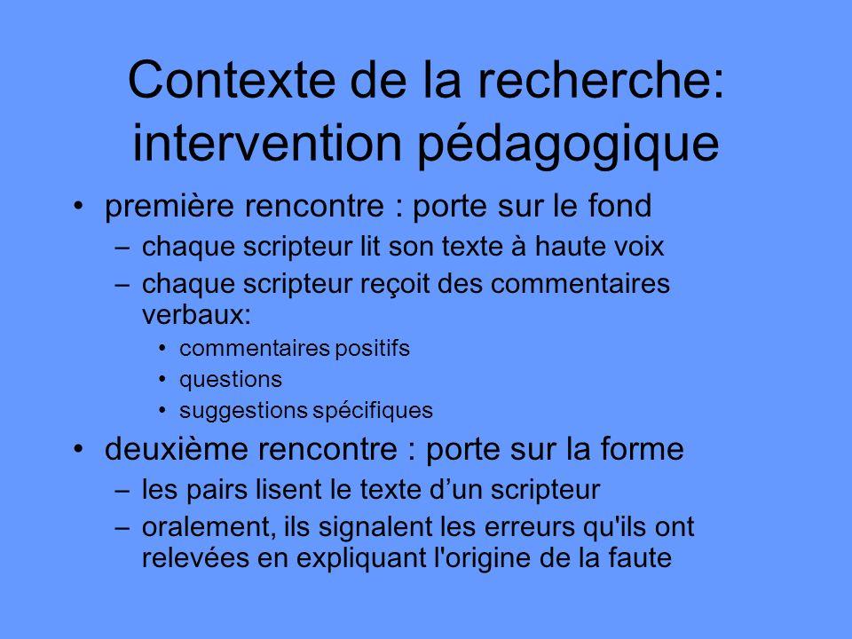 Contexte de la recherche: intervention pédagogique première rencontre : porte sur le fond –chaque scripteur lit son texte à haute voix –chaque scripte