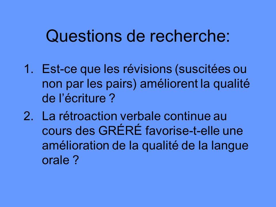 Questions de recherche: 1.Est-ce que les révisions (suscitées ou non par les pairs) améliorent la qualité de lécriture ? 2.La rétroaction verbale cont