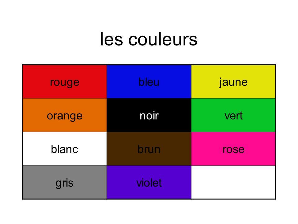 les couleurs rougebleujaune orangenoirvert blancbrunrose grisviolet