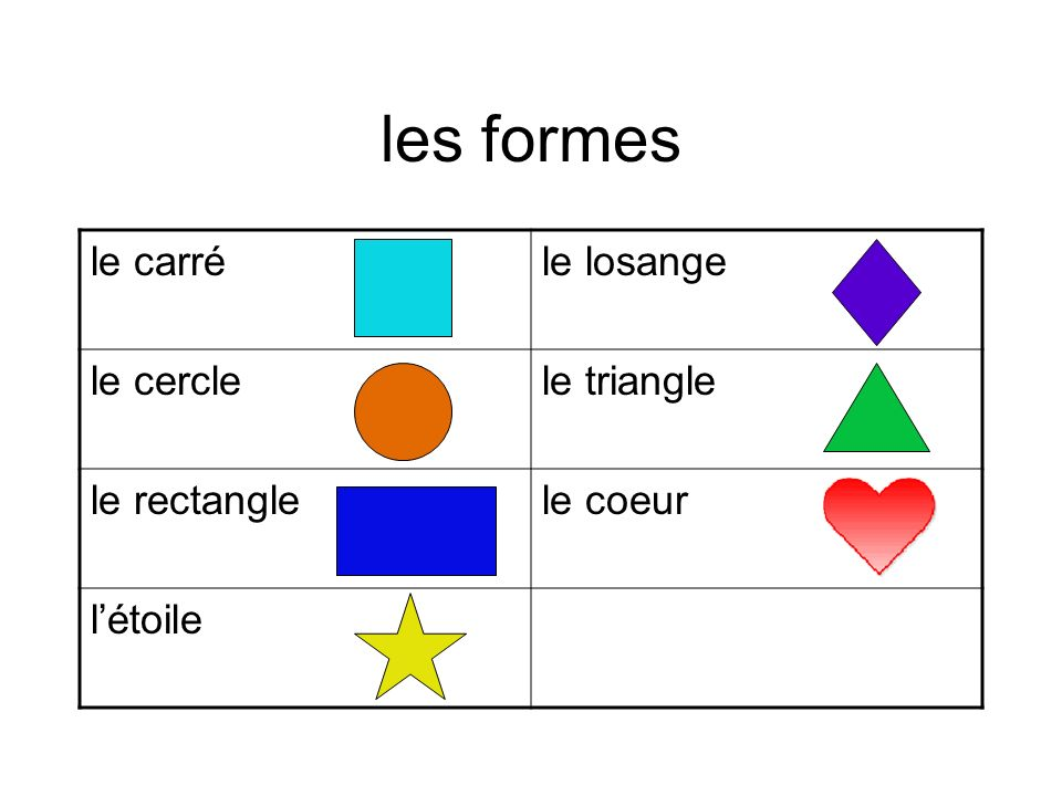 les formes le carréle losange le cerclele triangle le rectanglele coeur létoile