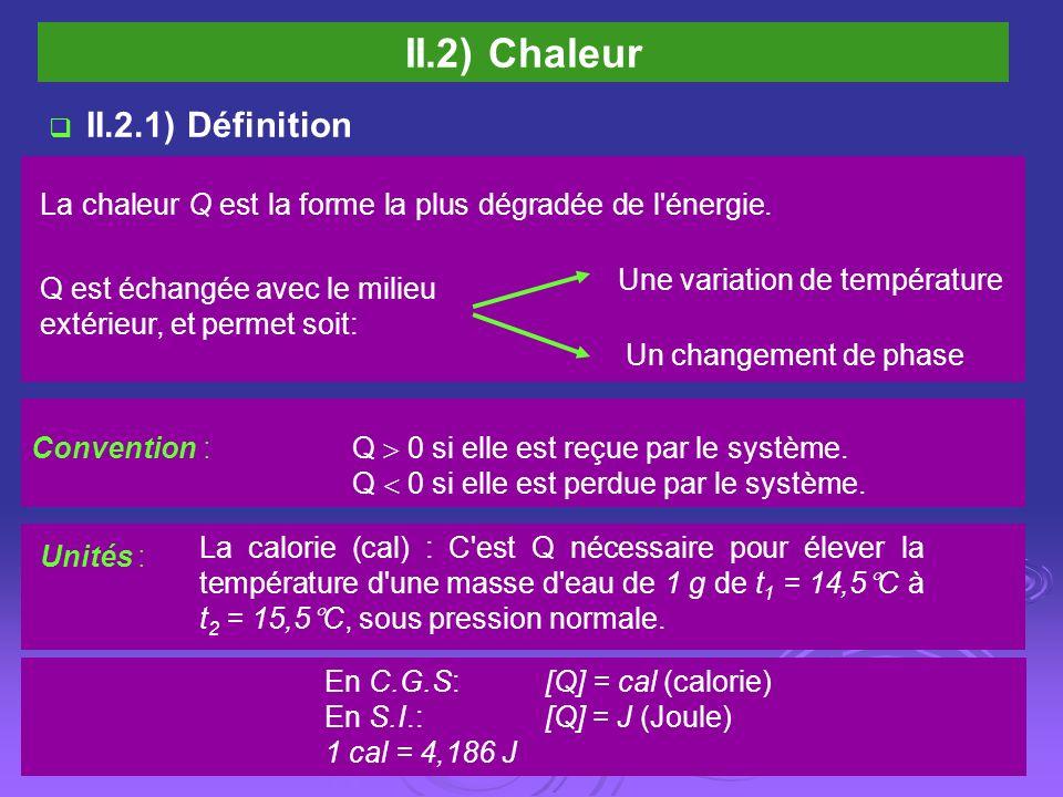 II.2) Chaleur II.2.1) Définition La chaleur Q est la forme la plus dégradée de l'énergie. Une variation de température Un changement de phase Q est éc