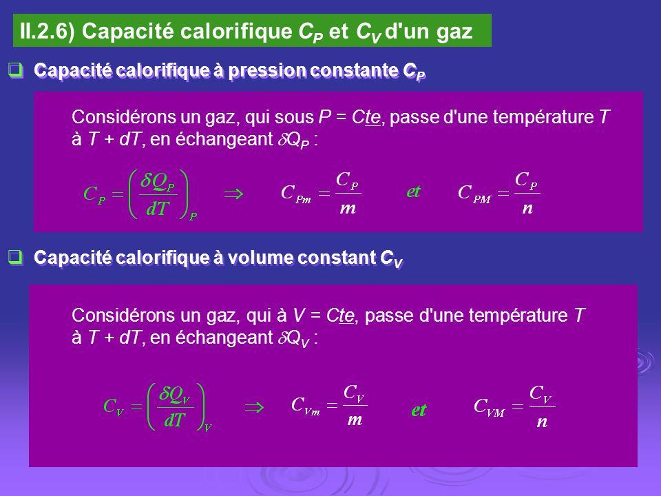 II.2.6) Capacité calorifique C P et C V d'un gaz Capacité calorifique à pression constante C P Considérons un gaz, qui sous P = Cte, passe d'une tempé