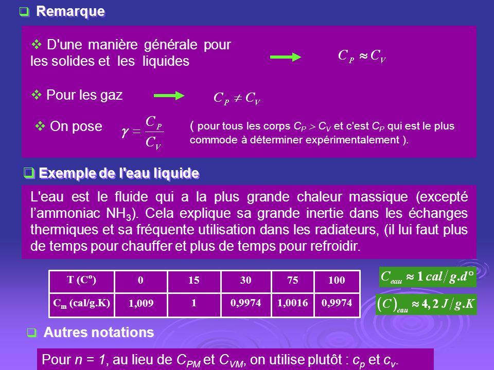 Remarque D'une manière générale pour les solides et les liquides Pour les gaz ( pour tous les corps C P C V et c'est C P qui est le plus commode à dét