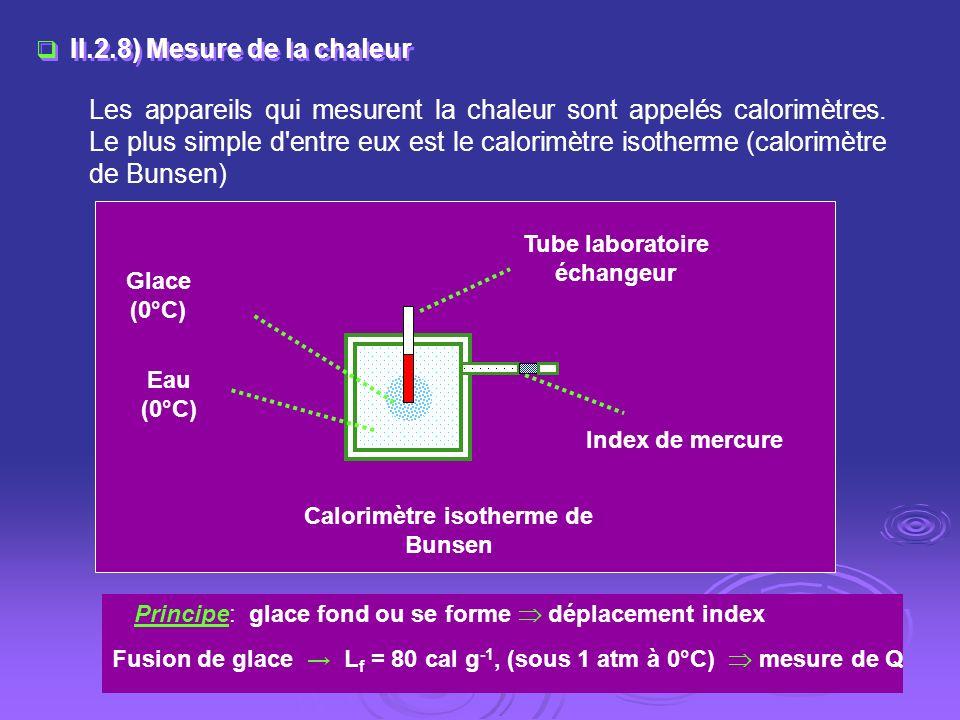II.2.8) Mesure de la chaleur Les appareils qui mesurent la chaleur sont appelés calorimètres. Le plus simple d'entre eux est le calorimètre isotherme
