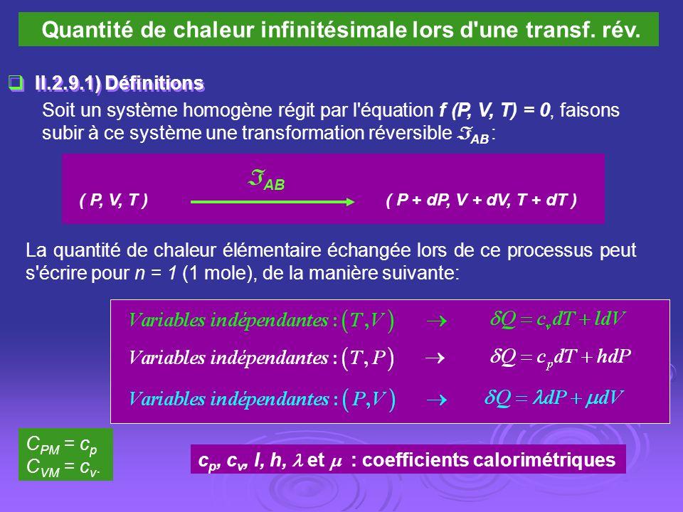 Quantité de chaleur infinitésimale lors d'une transf. rév. II.2.9.1) Définitions Soit un système homogène régit par l'équation f (P, V, T) = 0, faison