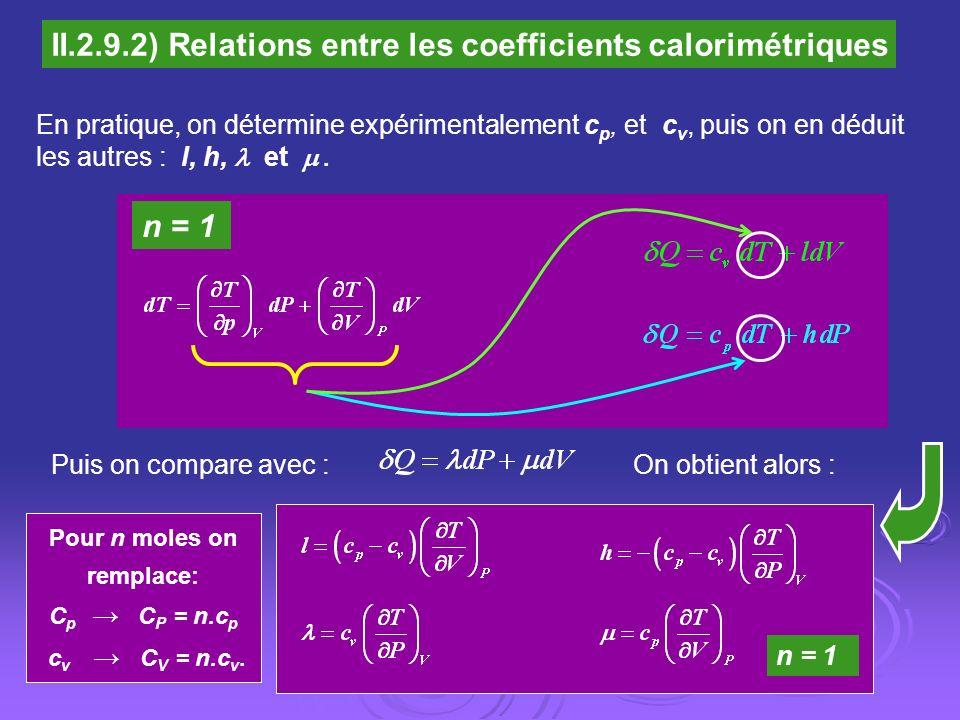 Pour n moles on remplace: C p C P = n.c p c v C V = n.c v. II.2.9.2) Relations entre les coefficients calorimétriques En pratique, on détermine expéri