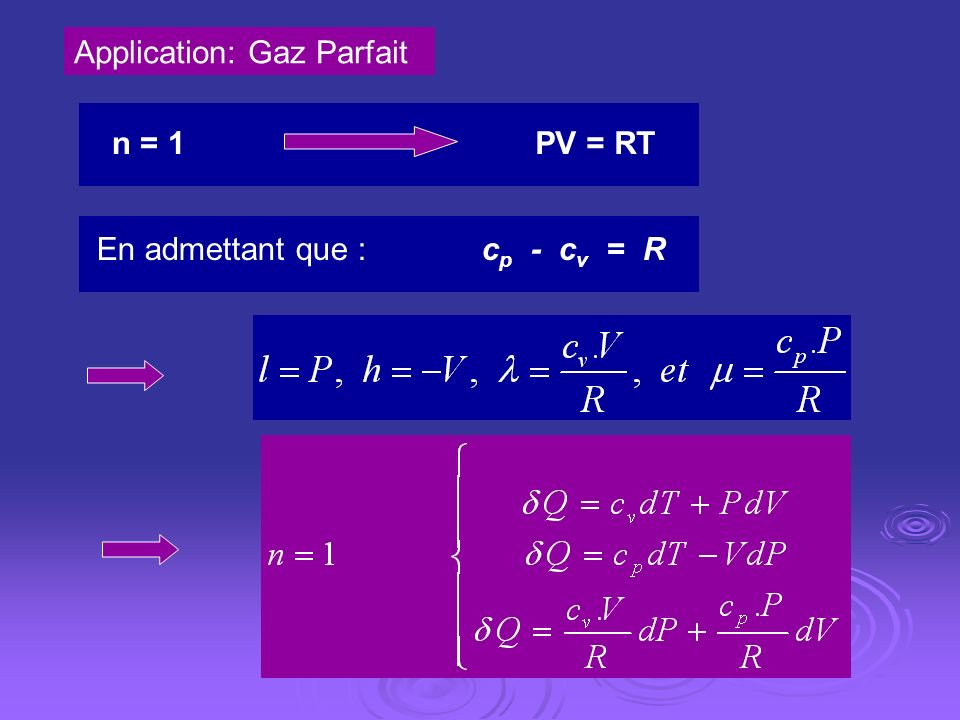 Application: Gaz Parfait n = 1PV = RT En admettant que : c p - c v = R