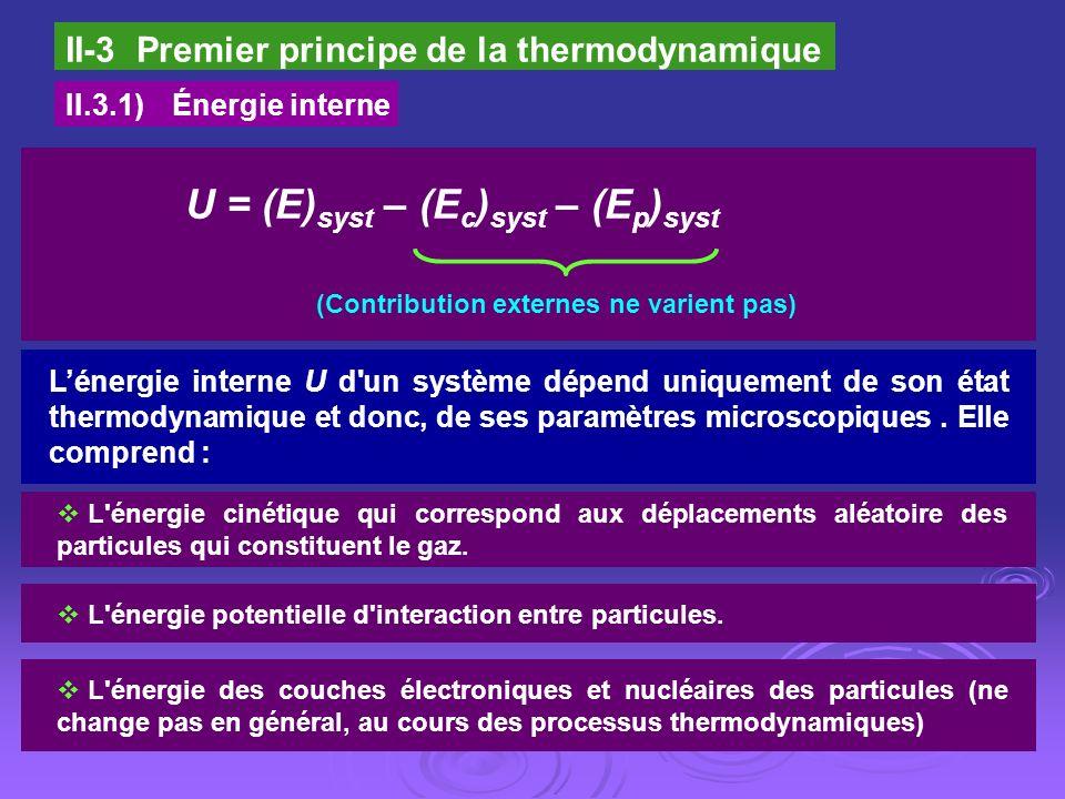 II-3 Premier principe de la thermodynamique II.3.1)Énergie interne U = (E) syst – (E c ) syst – (E p ) syst (Contribution externes ne varient pas) L'é