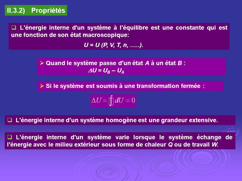 II.3.2)Propriétés L'énergie interne d'un système à l'équilibre est une constante qui est une fonction de son état macroscopique: U = U (P, V, T, n, ….