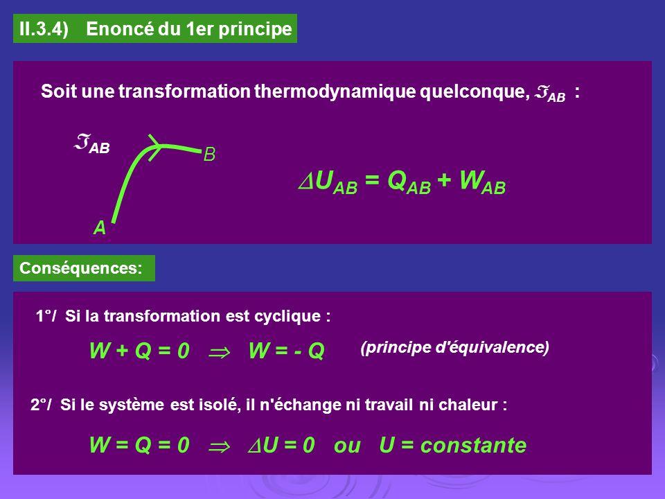II.3.4)Enoncé du 1er principe Soit une transformation thermodynamique quelconque, AB : AB B A U AB = Q AB + W AB Conséquences: 1°/ Si la transformatio