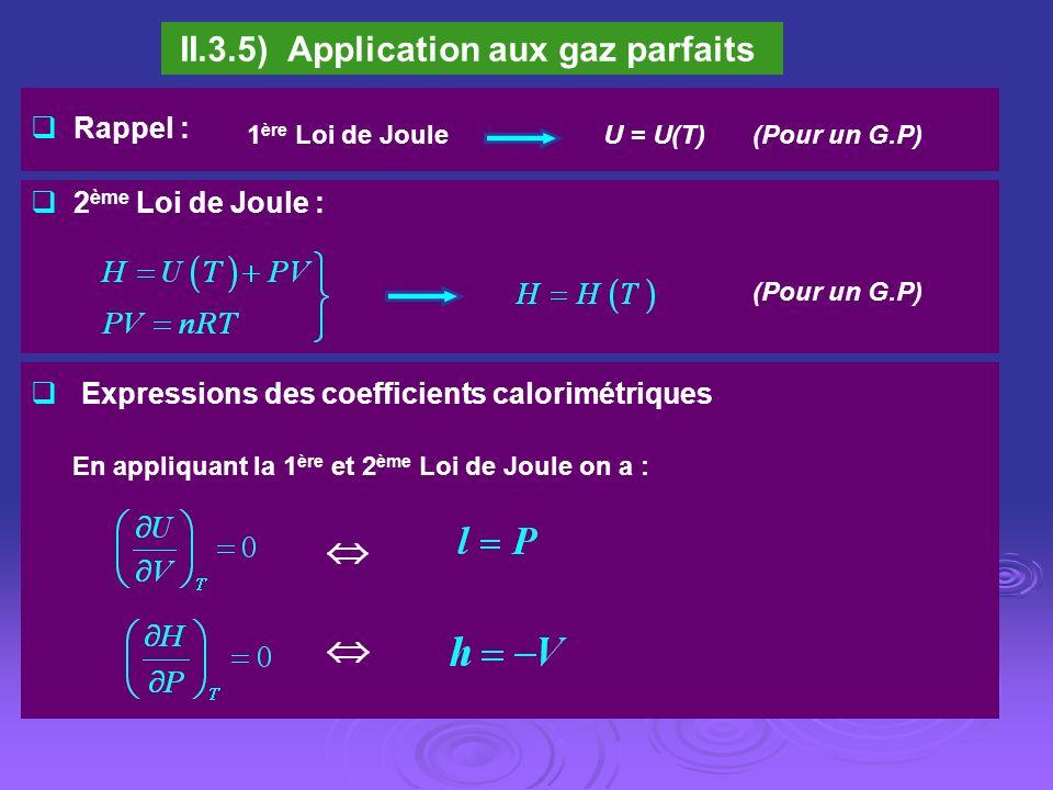 II.3.5) Application aux gaz parfaits Expressions des coefficients calorimétriques Rappel : 2 ème Loi de Joule : (Pour un G.P) U = U(T)1 ère Loi de Jou